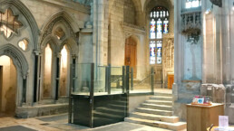 Wheelchair lift in cathedral